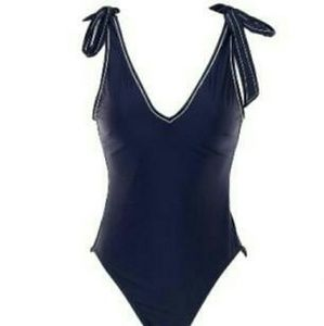 J Crew Navy One Piece Swimsuit 10 tie strap